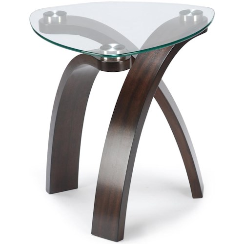 Magnussen Home Allure End Table With Glass Top and Bent Wood Legs