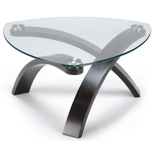 Belfort Select Allure Cocktail Table With Glass Top and Bent Wood Legs