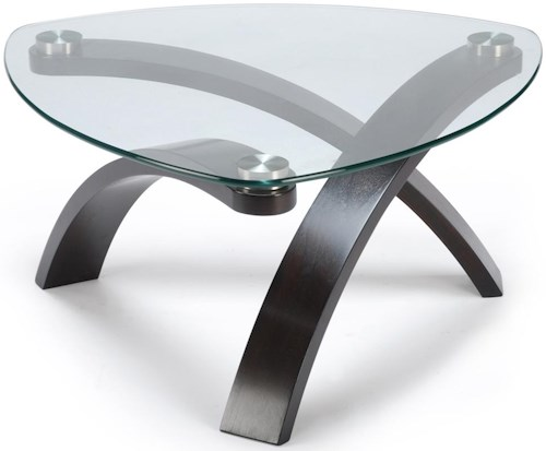 Magnussen Home Allure Cocktail Table With Glass Top and Bent Wood Legs