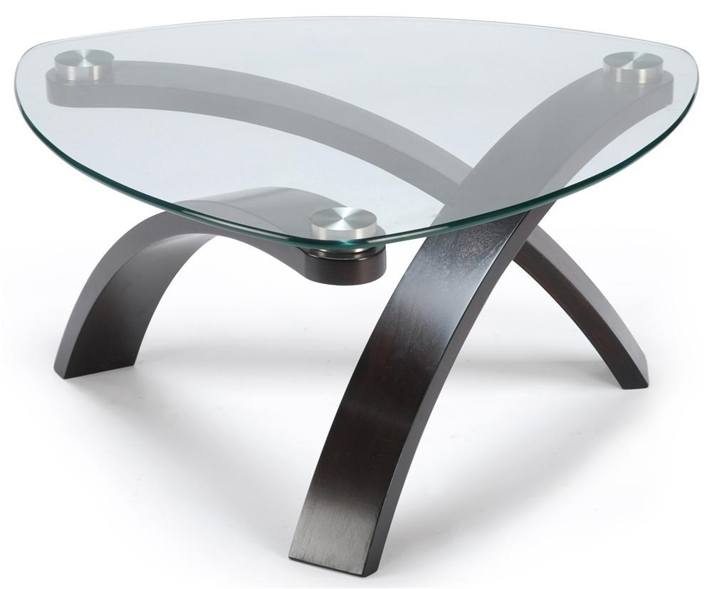 Allure Cocktail Table With Glass Top And Bent Wood Legs By Magnussen Home