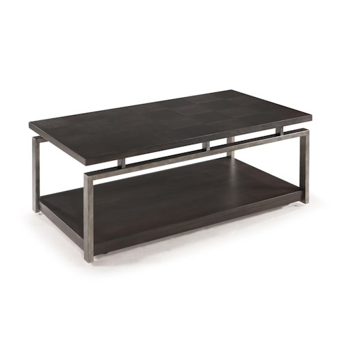 Magnussen Home Alton Contemporary Rectangular Cocktail Table with Casters