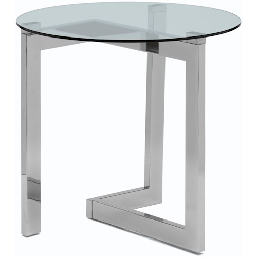 Magnussen Home Aries Contemporary Round End Table with Tempered Glass Top