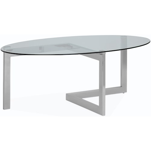 Magnussen Home Aries Contemporary Oval Cocktail Table with Tempered Glass Top