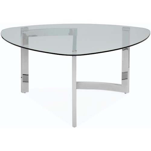 Magnussen Home Aries Contemporary Shaped Cocktail Table with Tempered Glass Top