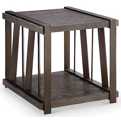 Magnussen Home Aviston Rectangular End Table with Metal Base