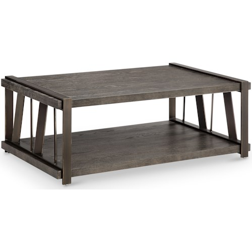 Magnussen Home Aviston Industrial Rectangular Cocktail Table with Casters