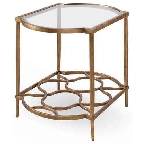 Belfort Select Bancroft 4038 Metal End Table with Glass Top