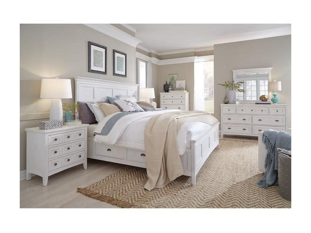 Magnussen Home Heron CoveKing Panel Bed with Storage Rails