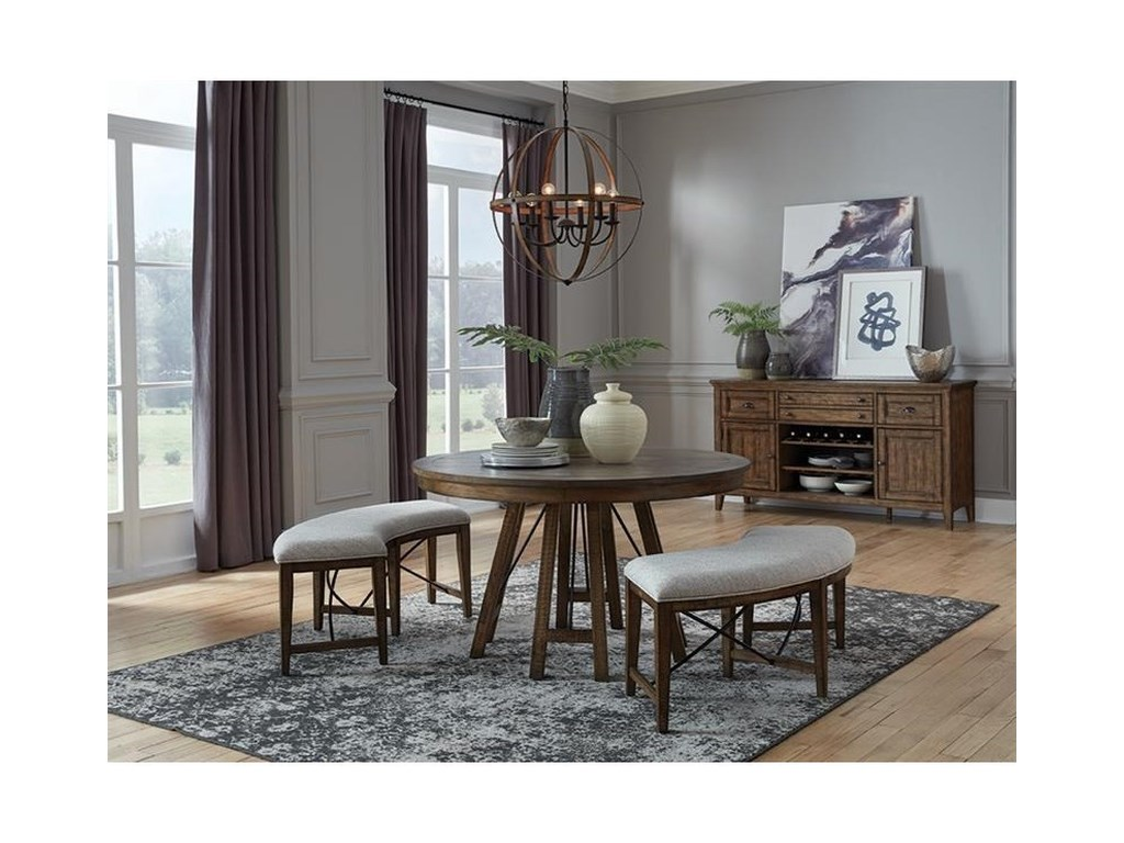 Magnussen Home Bay Creek3-Piece Dining Set with Benches