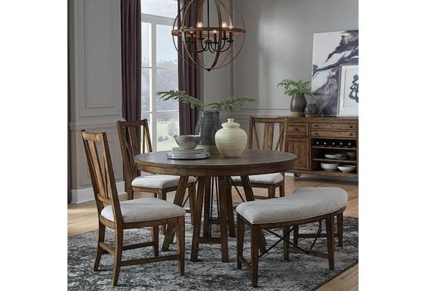 Magnussen Home Bay Creek 5 Piece Dining Set With Bench Suburban Furniture Table Chair Set With Bench
