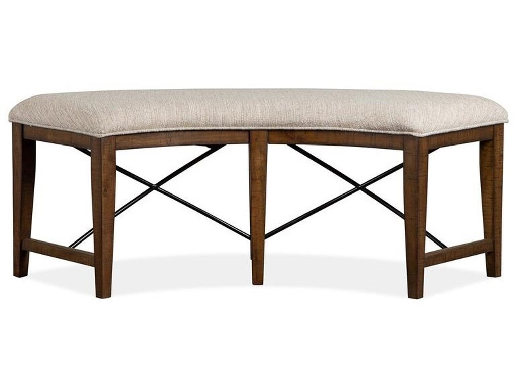 Magnussen Home Bay CreekCurved Bench w/ Upholstered Seat