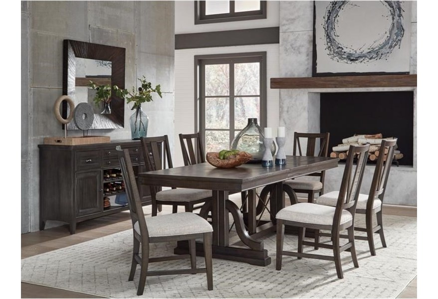 Magnussen Home Westley Falls D4399 25 Rectangular Dining Trestle Table With Table Leaf Upper Room Home Furnishings Dining Tables