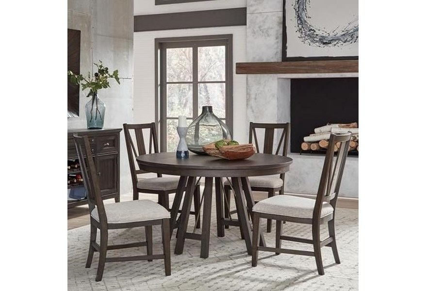 Magnussen Home Westley Falls 5 Piece Dining Set With Round Table Suburban Furniture Dining 5 Piece Sets