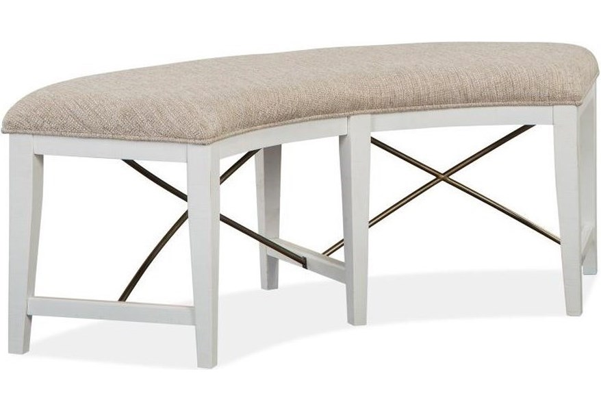 Magnussen Home Heron Cove Curved Dining Bench With Upholstered Seat Value City Furniture Dining Benches