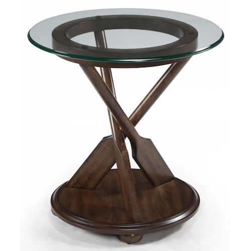 Magnussen Home Beaufort Round End Table with Three-Oar Pedestal and Tempered Glass Top