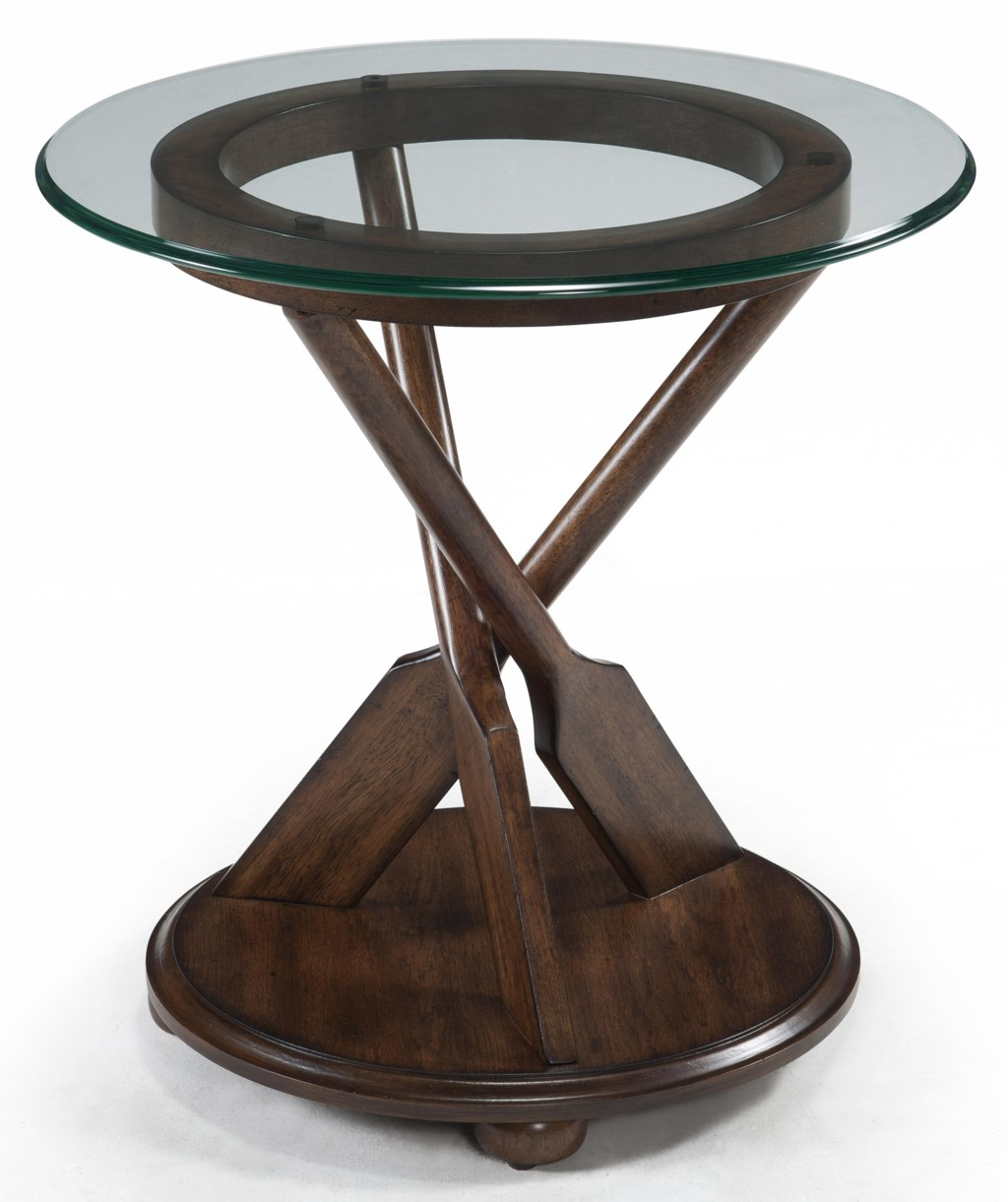 Magnussen Home Beaufort Round End Table with Three Oar Pedestal