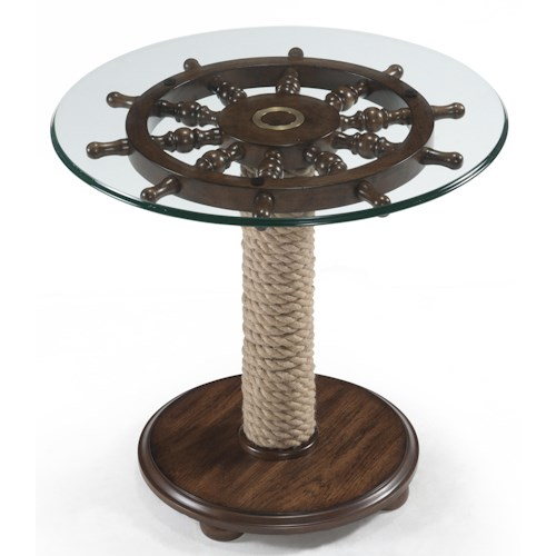 Magnussen Home Beaufort Round Accent Table with Tempered Glass Top, Ship Wheel and Wound Rope Pedestal
