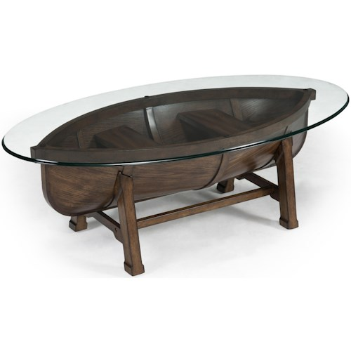 Magnussen Home Beaufort Boat Hull Cocktail Table with Trestle Base and Tempered Glass Top
