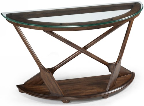 Magnussen Home Beaufort Demilune Sofa Table with Oar Motif Supports and Tempered Glass Top