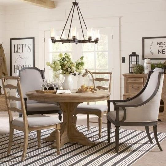 Elegant Magnussen Home Graham HillsRound Table, 2 Host Chairs 2 Side Chairs