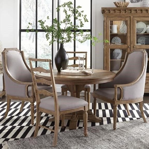 Magnussen Home Graham Hills Round Single Pedestal Table, 2 Host Chairs, And  2 Side