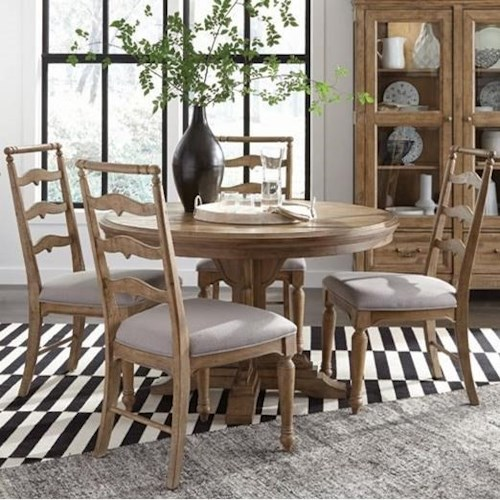 Magnussen Home Graham Hills Single Pedestal Round Dining Table With 4 Side Chairs