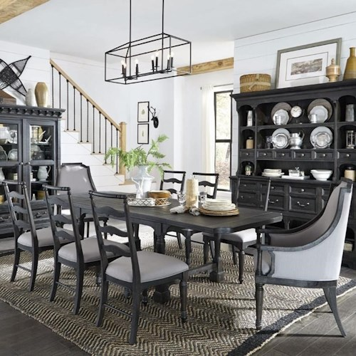 Magnussen Home Bedford Corners Table With 2 Breadboard Leaves, 6 Side Chairs,  And 2 Host Chairs