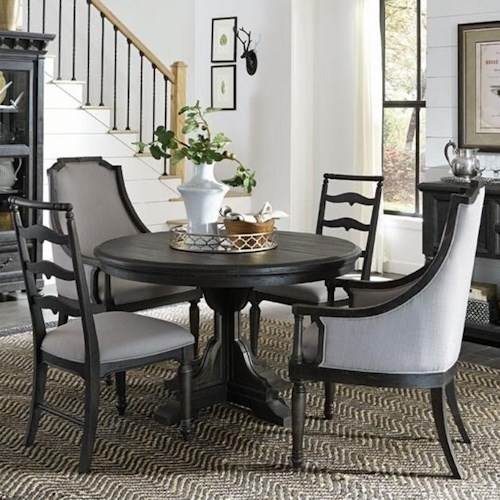 Magnussen Home Bedford Corners Round Single Pedestal Table, 2 Host Chairs, And 2 Side Chairs