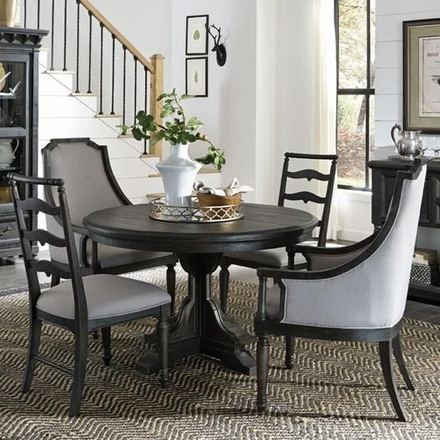 Magnussen Home Bedford CornersRound Table 2 Host Chairs 2 Side Chairs ... & Magnussen Home Bedford Corners Round Single Pedestal Table 2 Host ...