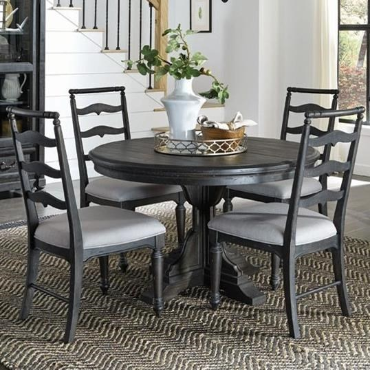 Magnussen Home Bedford Corners Single Pedestal Round Dining Table With 4  Side Chairs