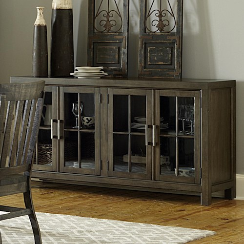 Magnussen Home Bellamy Transitional Buffet with Curio Doors and Touch Lighting