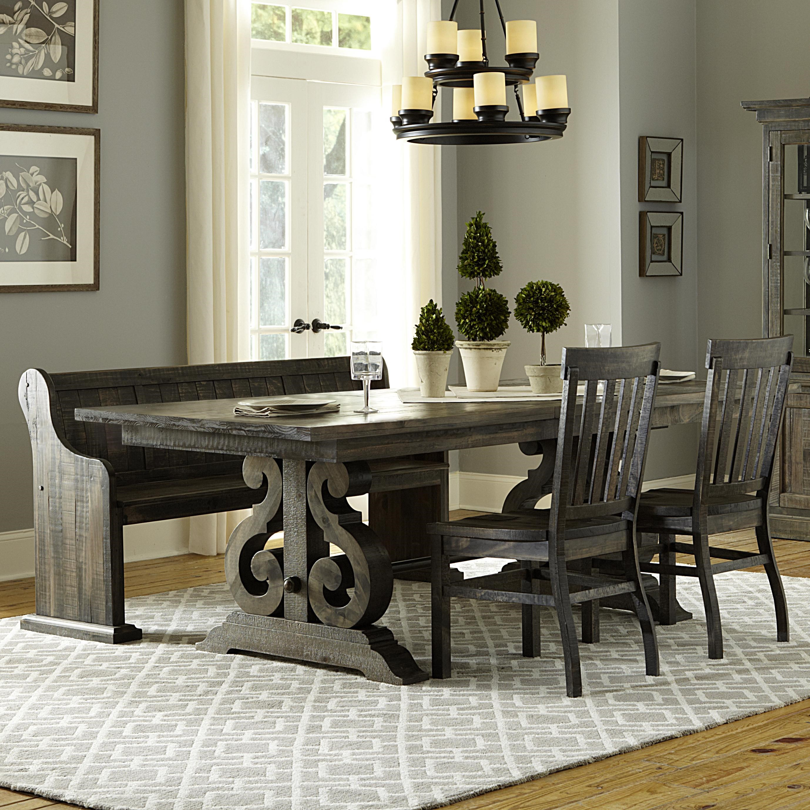 dining table with 2 chairs. magnussen home turnin table + 2 chairs bench dining with