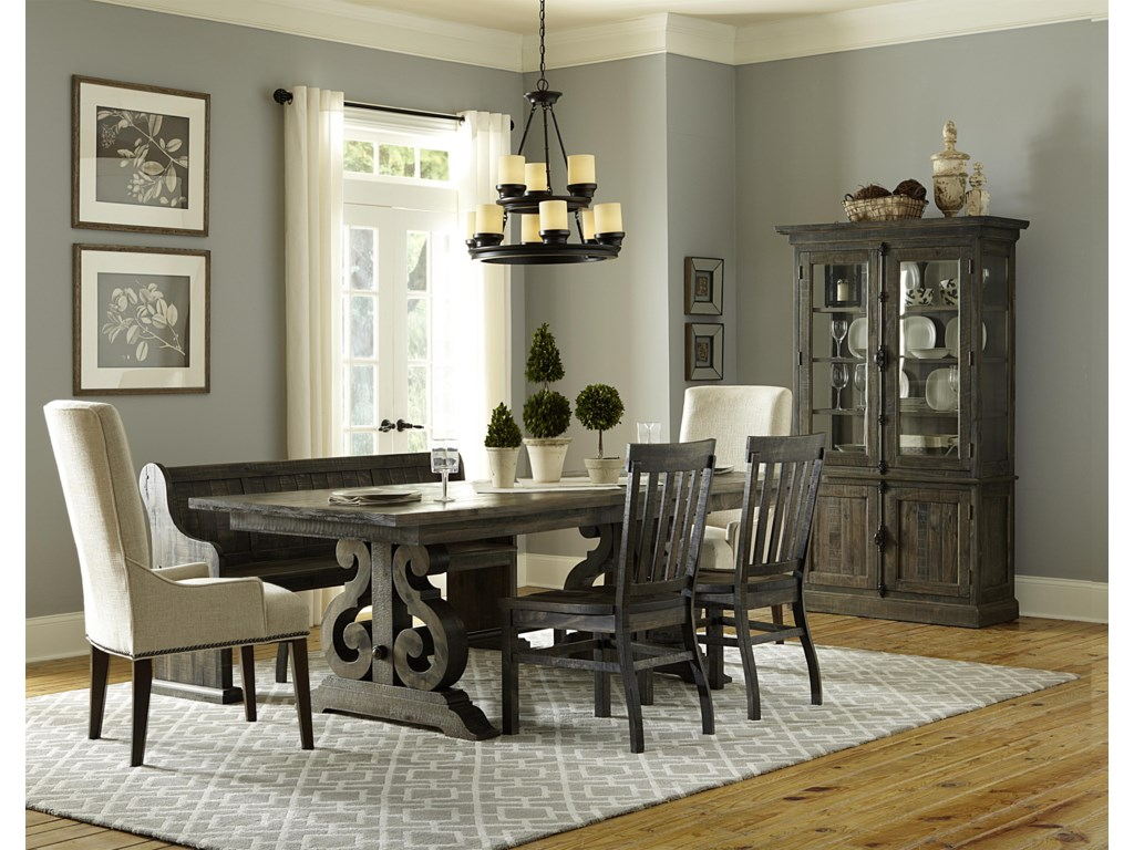 Magnussen Home Bellamy Dining Table, 2 Wood Chairs, 2 Upholstered ...