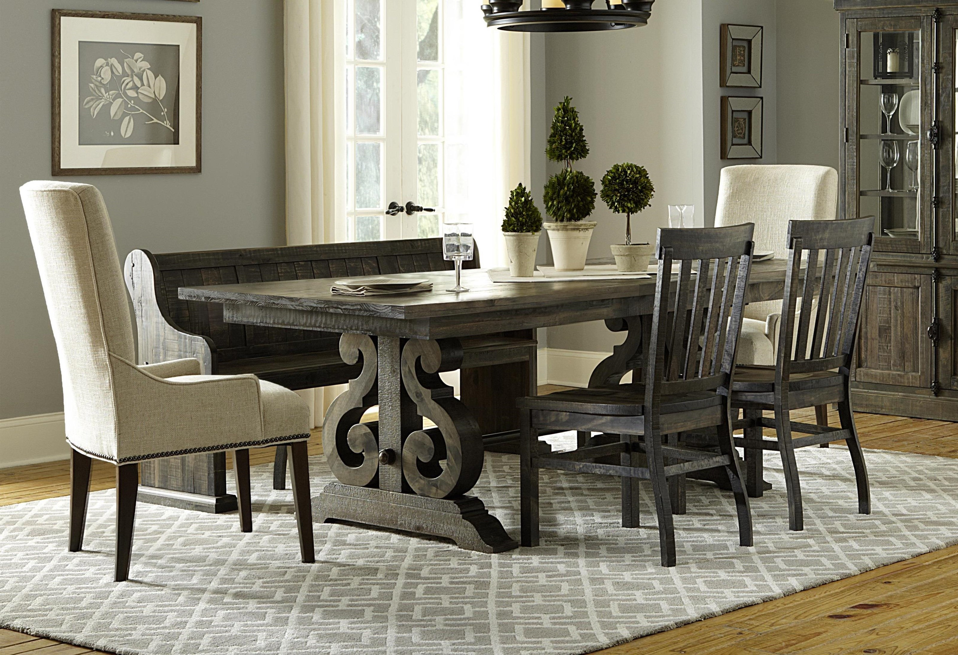 dining room tables with upholstered chairs. magnussen home bellamy dining table, 3 wooden side chairs, 2 upholstered chairs \u0026 bench - great american store table chair set with room tables