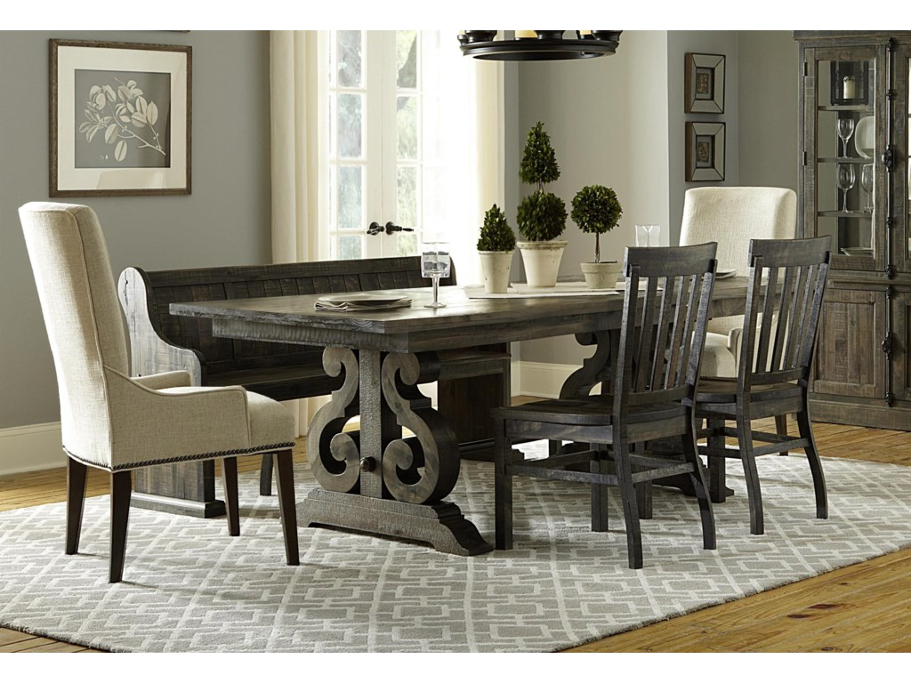 Magnussen Home Bellamy Dining Table, 3 Wooden Side Chairs, 2 ...