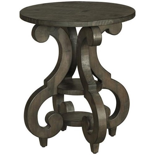 Magnussen Home Bellamy Round Accent End Table with Shelves