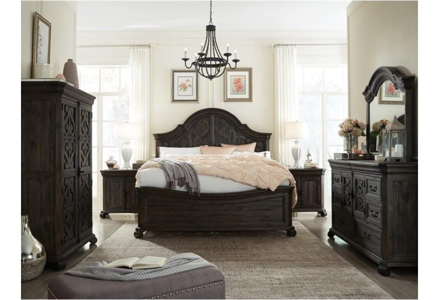 Magnussen Home Bellamy Bedroom Group With Curved California King Bed And Mirror Dunk Bright Furniture Bedroom Groups