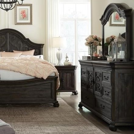 Magnussen home bellamy traditional dresser and shaped mirror set