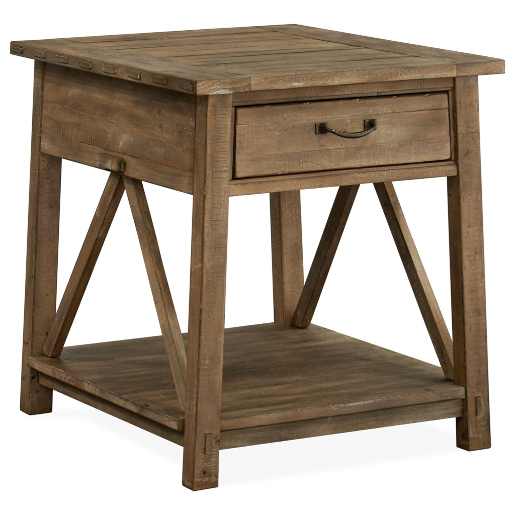 Magnussen home bluff heights rustic rectangular drawer end table with distressed finish