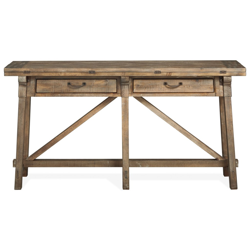 Magnussen Home Bluff Heights T4597 85 Rustic Flip Top Sofa Table