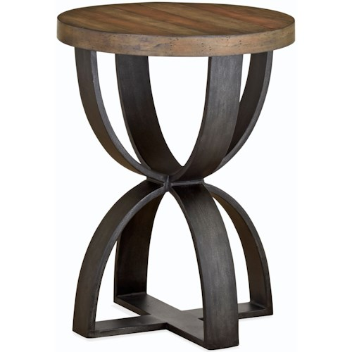 Magnussen Home Bowden  Rustic Round Accent Table of Solid Wood
