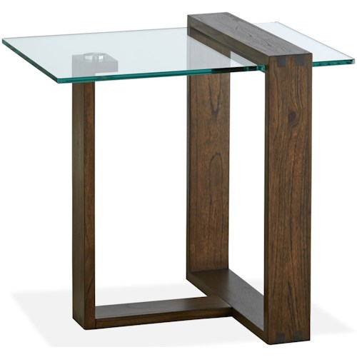 Magnussen Home Bristow Contemporary Rectangular End Table with Glass Top