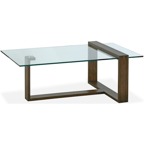 Magnussen Home Bristow Contemporary Rectangular Cocktail Table with Glass Top