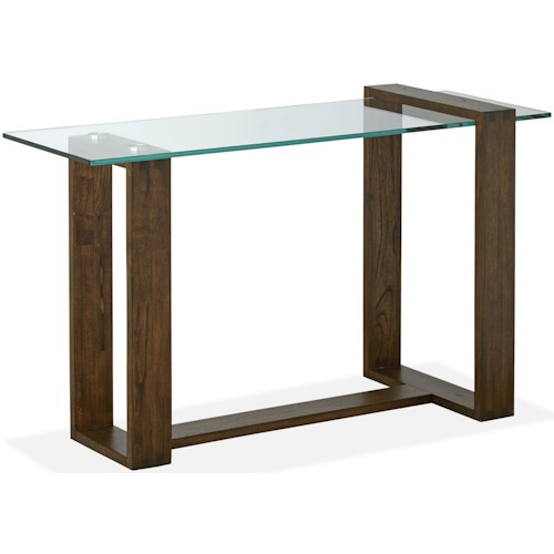 Magnussen Home Bristow Contemporary Rectangular Sofa Table with Glass Top