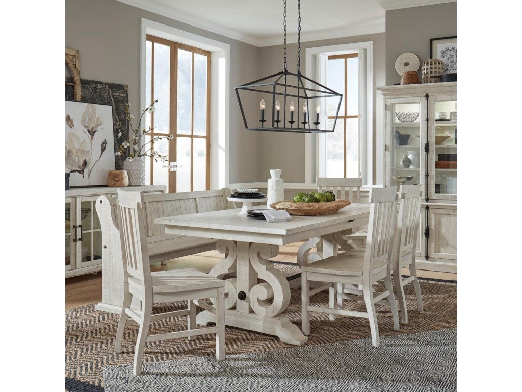 Magnussen Home Bronwyn 6 Piece Farmhouse Dining Table Set With Bench Reeds Furniture Table Chair Set With Bench