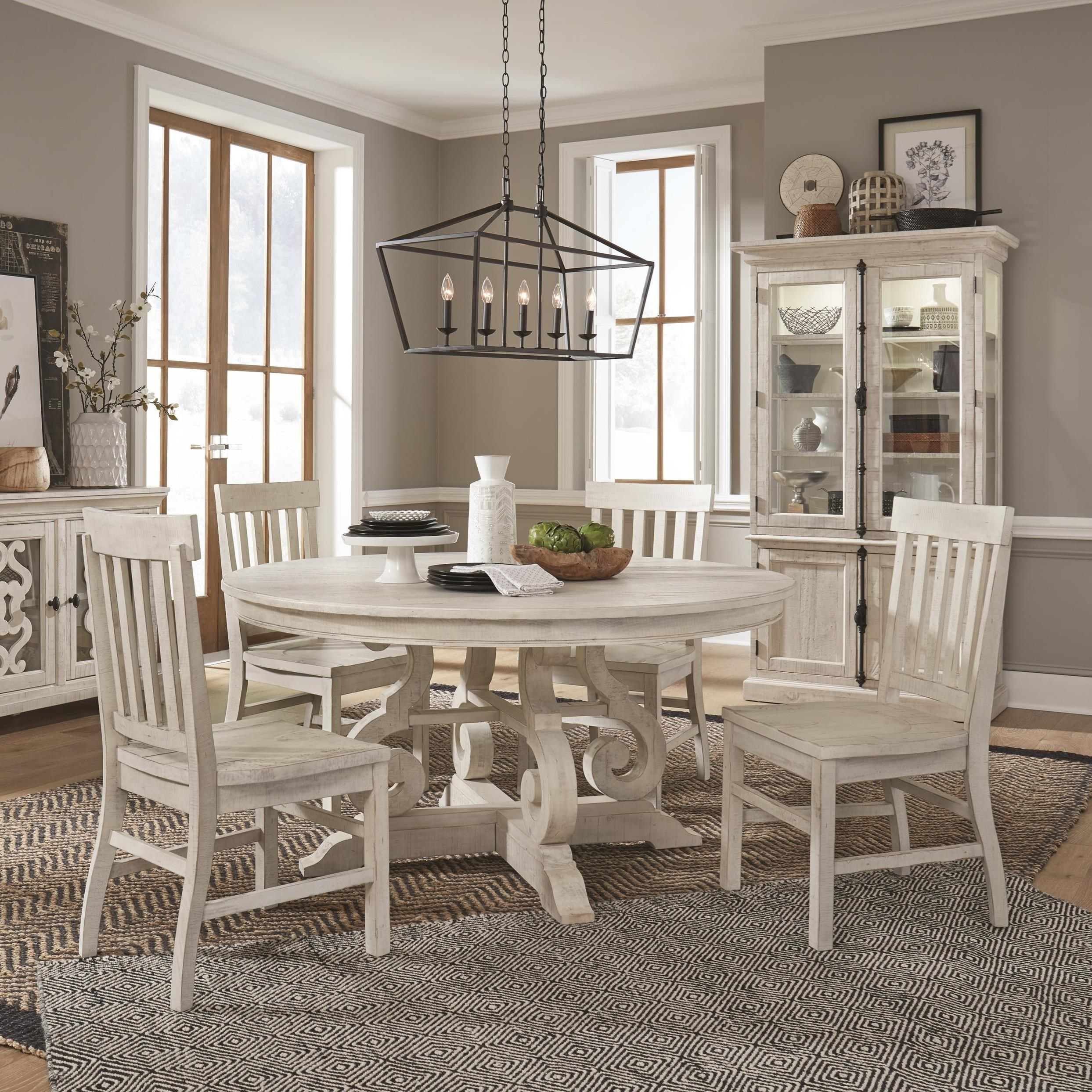Picture of: Magnussen Home Bronwyn 5 Piece Farmhouse Dining Set With Round Table Reeds Furniture Dining 5 Piece Sets