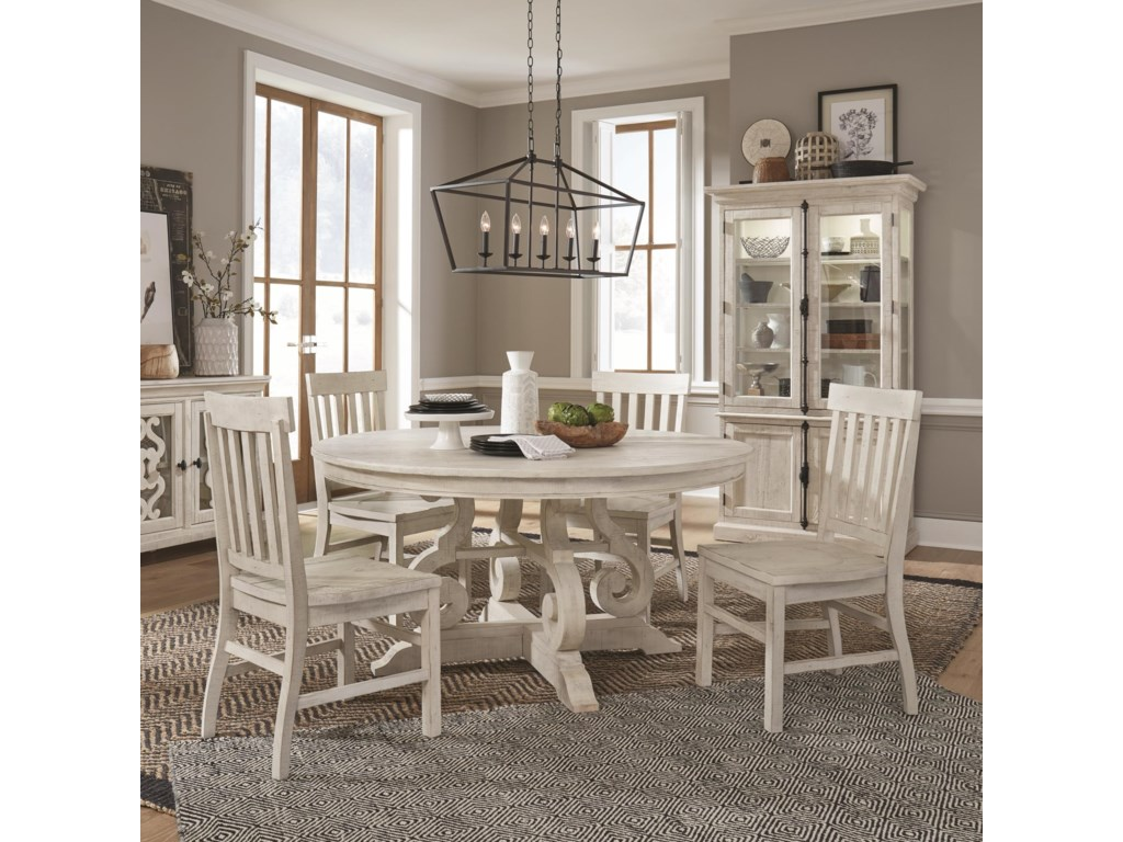 Tufted Chaise Lounge Chair, Magnussen Home Bronwyn 5 Piece Farmhouse Dining Set With Round Table Reeds Furniture Dining 5 Piece Sets