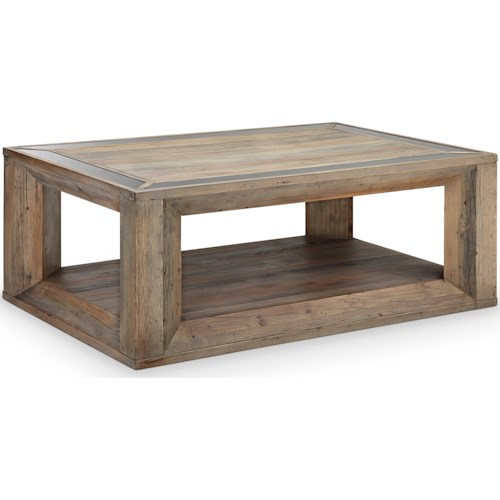 Magnussen Home Brunswick  Rustic Rectangular Cocktail Table with Casters
