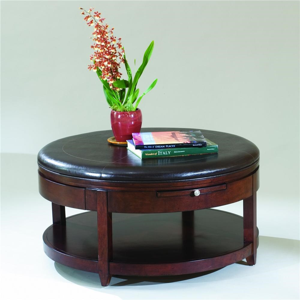 Magnussen Home Brunswick Round Cocktail Table With Casters   Adcock  Furniture   Cocktail Or Coffee Table