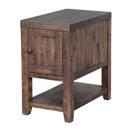 Magnussen Home Caitlyn Rustic Rectangular Chairside Table with One Door and One Shelf